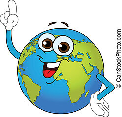globe mondial, dessin animé