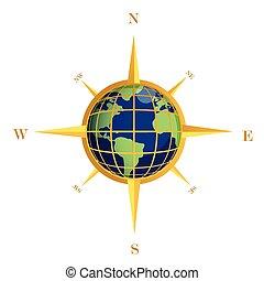 globe, or, illustration, compas