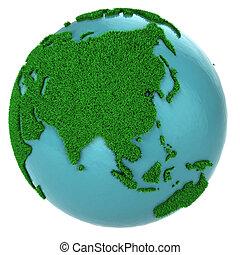 globe, partie, herbe, eau, asie