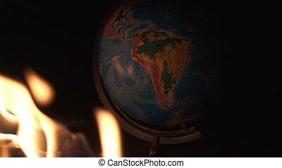 globe, plancher, rochers, haut, lot, brûlé, fin, destructed