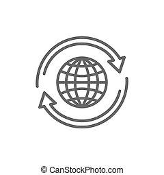 globe, plat, icône