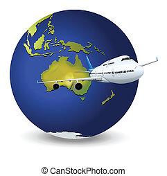 globe terre, avion