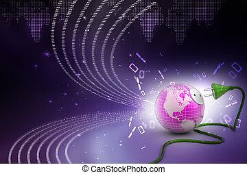 globe terre, cable électrique