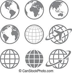 globe terre, ensemble, icône