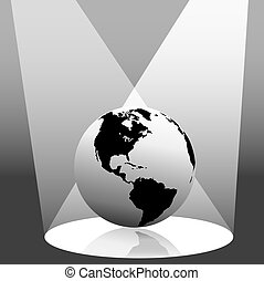 globe terre, projecteur, ouest