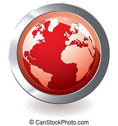 globe terre, rouges, icône