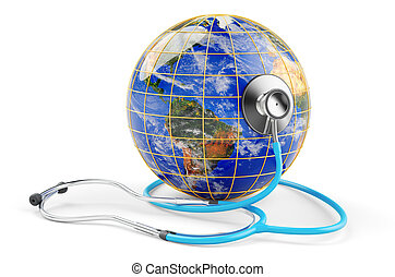 globe terre, stethoscope., concept., 3d, healthcare, rendre, global