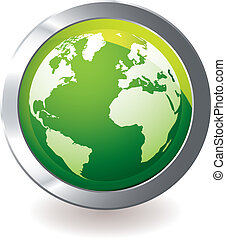 globe terre, vert, icône