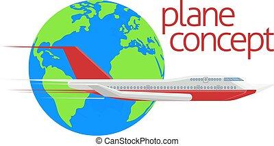 globe, voyage, concept, avion