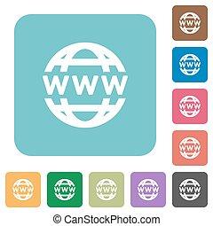 globe, www, plat, icônes