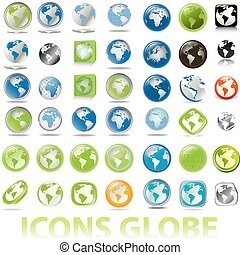globes, la terre, collection, icônes