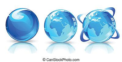 globes, la terre, lustré, carte