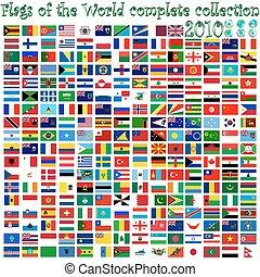 globes, mondiale, drapeaux, la terre