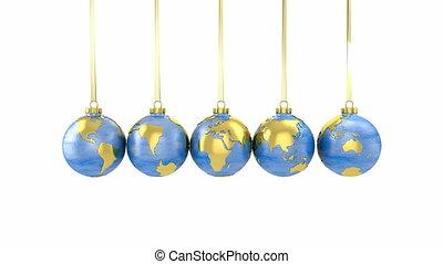 globes, newton, berceau, fait
