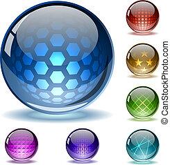 globes, résumé, coloré