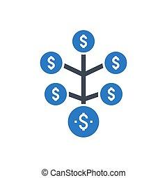 glyph, icône, investissement, retour, vecteur