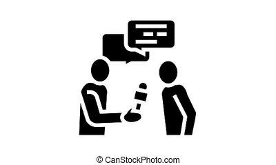 glyph, journaliste, icône, animation, entrevue