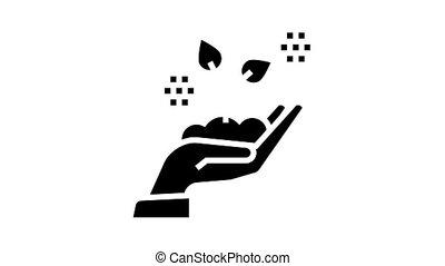 glyph, tenue, croissant, main, icône, animation, plante