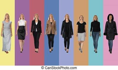 go., collage, filles, différent, beau, images