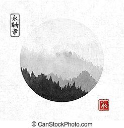 go-hua., happiness., contient, -, liberté, traditionnel, fog., oriental, arbres, sumi-e, hiéroglyphes, cercle, tableau encre, éternité, u-sin, forêt