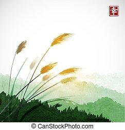 go-hua., happiness., herbe, hiéroglyphe, montagnes., feuilles, contient, -, traditionnel, forêt verte, sumi-e, oriental, tableau encre, u-sin