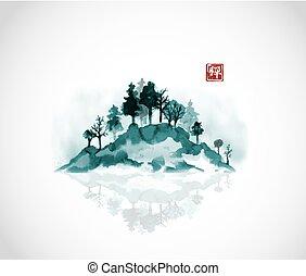 go-hua., hiéroglyphe, zen., île, sumi-e, -, arbres, traditionnel, oriental, forêt, encre, fog., peinture, u-sin
