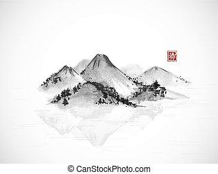 go-hua., montagnes, arbres., hiéroglyphe, île, sumi-e, -, traditionnel, clarity., oriental, forêt, tableau encre, u-sin