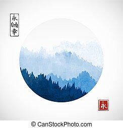 go-hua., montagnes, bonheur, éternité, contient, -, liberté, traditionnel, hiéroglyphes, encre, arbres, sumi-e, oriental, fog., peinture, éternité, u-sin, forêt