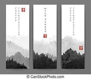 go-hua., montagnes, bonheur, contient, -, arbres, traditionnel, oriental, forêt, sumi-e, hiéroglyphes, bannières, tableau encre, fog., u-sin, eternity.