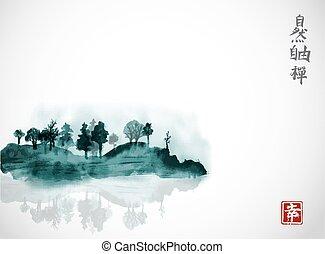 go-hua., zen, nature, île, contient, -, liberté, traditionnel, hiéroglyphes, encre, arbres, u-sin, sumi-e, oriental, fog., peinture, bonheur, forêt