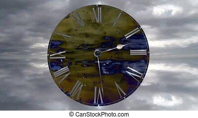 go., nuages, défaillance, voler, montre, clock., rapidement, jeûne, temps