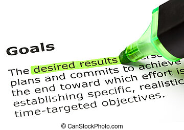 'goals', 'desired, results', sous