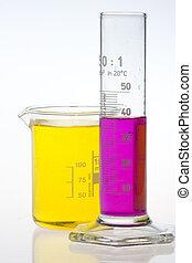 gobelet, laboratoire, cylindre, étalonné
