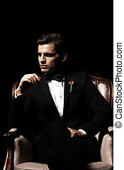 godfather-like, séance, character., chaise, portrait, homme