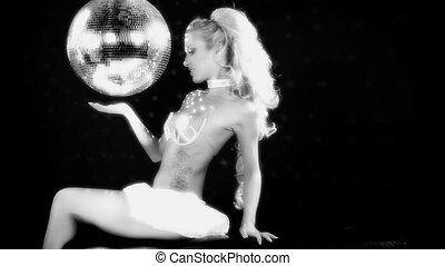 gogo, malibu, coup, séance, lis, suivant, grand, rotation, poser, sexy, professionnel, discoball