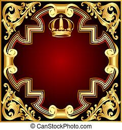 gold(en), modèle, couronne, vignette, illustration, fond, invitation