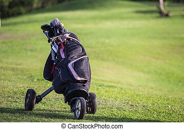 golf, conducteurs, champ, clubs, vert, noir