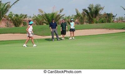 golf, femme, sport, asiatique, jouer