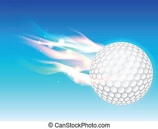 golf, flamboyant, ciel, balle