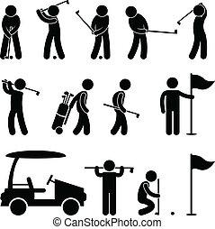 golf, golfeur, chariot, balançoire, gens