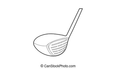 golf, icône, crosse, animation