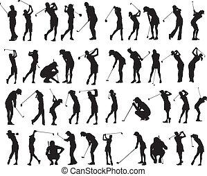 golf, poses, silhouette, 40, femme