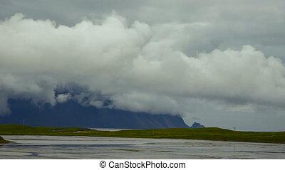 golfe, défaillance, iceland., clouds., temps, montagnes