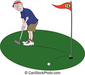 golfeur, mettre