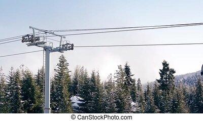 gondoles, dépassement, au-dessus, arbres, neigeux