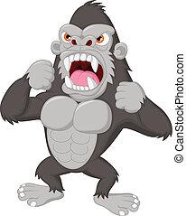 gorille, dessin animé, fâché, caractère