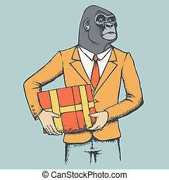 gorille, suit., humain, illustration, africaine