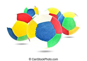 gosse, boule colorée, jouet, cinq