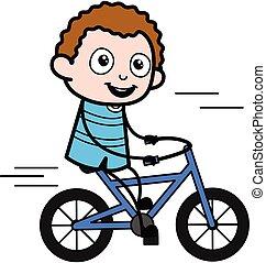gosse, dessin animé, bicyclette voyageant