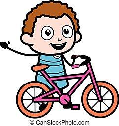 gosse, dessin animé, vélo